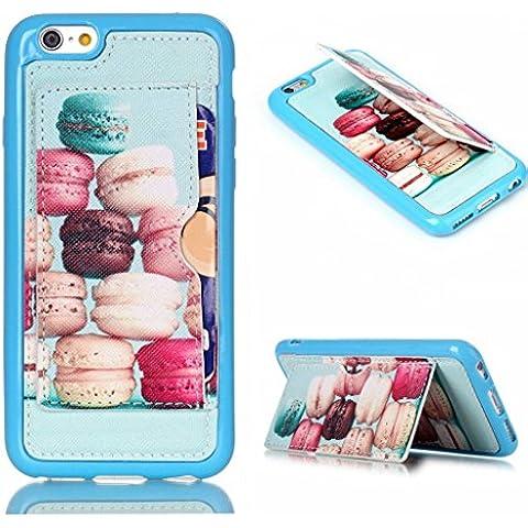 Evtech (tm) Macarons PU del patrón de cuero en folio del caso de la contraportada de la cubierta del soporte del tirón con el sostenedor del teléfono y ranuras para tarjeta para el iPhone 6 Plus / iPhone 6s Plus