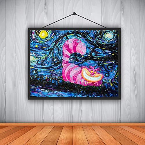 YHEGV Moderne Hauptdekoration Hd Ölgemälde Vincent Van Goghs Sternennacht Alice Im Wunderland Cheshire Cat Wunderland Rahmenlose 45X60 cm = 18X24 Zoll -