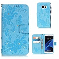 Galaxy S7 Case, KKEIKO® Galaxy S7 Wallet Case [with Free Screen Protector], Premium Flip Leather Case and Cover with Bling Rhinestone, Shockproof Bumper Cover Case for Samsung Galaxy S7 (Blue)