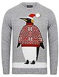 Seasons Greetings Herren Weihnachten / Weihnachts Pullover - Weihnachten Pinguin - Mitte Grau Marl, XL