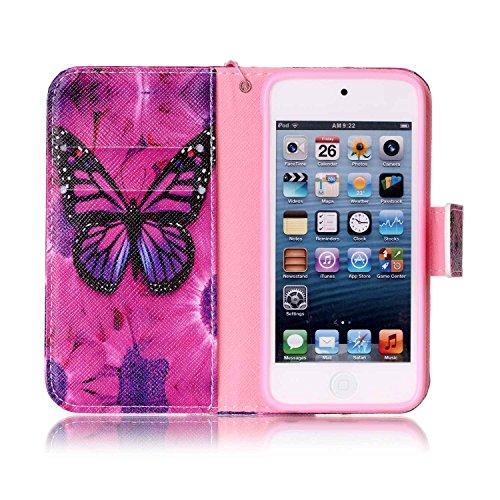 Custodia iPod Touch 5/6,SainCat Custodia in pelle Protettiva Flip Cover per iPod touch 5/6,Anti-Scratch Protettiva Caso Elegante Creativa Dipinto Pattern Design PU Leather Flip Ultra Slim Sottile Morb Rose Black Butterfly