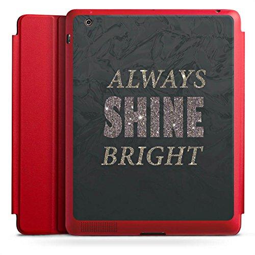DeinDesign Apple iPad 2 Smart Case rot Hülle mit Ständer Schutzhülle Shine Brille Glitter