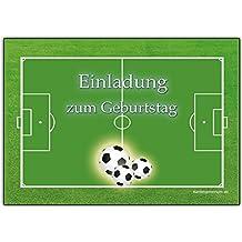 12 Einladungskarten Kindergeburtstag Fussball Junge Kinder Geburtstag  Einladungen Geburtstagseinladungen