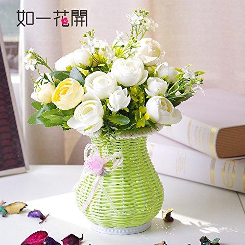 Emulation Kit (Xin Pang Japanischen Blumenarrangements Emulation Rose Bouquet von Rattanmöbel idyllische Künstliche Blumen und Pflanzen2 Kit, die Phantasie die Weiße Rose + Die Rattan Vase)