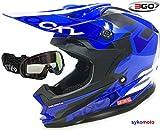 3GO XK188 ROCKY BAMBINI MOTOCROSS RAGAZZI E RAGAZZE ENDURO ATV QUAD BLU CASCO CON OCCHIALI (L (51 - 52 CM))