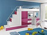 Furnistad Kinderzimmer Komplett Sun | Kinder Hochbett mit Treppe, Schreibtisch, Schrank und Gästebett (Option links, Weiß + Rosa)