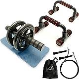 CampTeck U6759 'Kit Allenamento' - Push Up Bars Supporto Maniglie & AB Roller Wheel Addominale Ruota Addominali per Press Up, Fitness, Palestra & Abs Esercizio