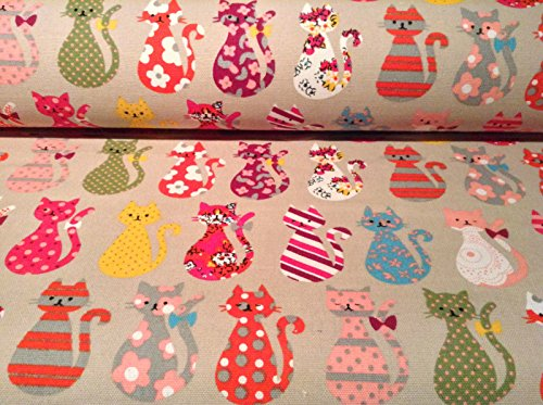 CATS Designer Curtain Upholstery Cotton Fabric Material (140cm/54 inches wide canvas) Sold by the Metre