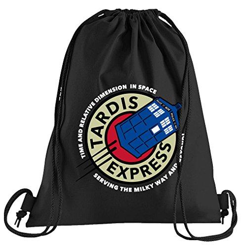 TARDIS Express Bolsa de deporte–serigrafiado Bolsa–Una bonita de funda deportiva; de la calidad del materiales–Bolsa con cordones–Un bonito Mochila de algodón–Funda en negro, algodón, Negro, talla única