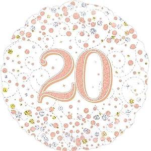 """OakTree 227093 - Globo de cumpleaños (45,7 cm), diseño con texto""""Happy 20th Birthday"""", color blanco y oro rosa"""