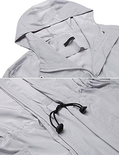 Modfine Damen Funktionsjacke Regenmantel Wasserdicht mit Kapuze Jacke Regenparka Grau