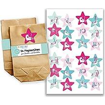 Adventskalender Set - 24 braune Tüten mit 24 Aufkleber Zahlen rosa - Adventskalender zum Befüllen - Mini Set Nr 38 - von Papierdrachen