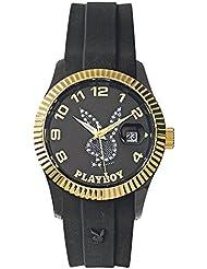 Playboy EVEN38GB - Reloj analógico de cuarzo unisex, correa de silicona color negro