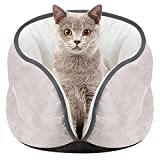 ODJOY-FAN Haustier Katzennest Kätzchen Katzen Bett Matte Super Weich Warm Zwinger Kennel Wildleder Warm Halb geschlossen Umgeben Hunde Haus 40 x 28 cm(Grau,1 PC)