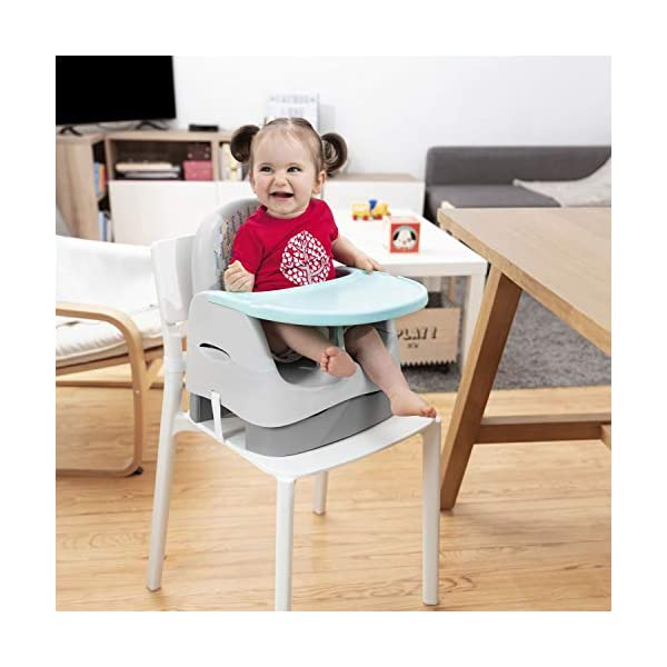 Badabulle Trendy Feeding Booster Seat Badabulle Universal: the trendy feeding booster seat fits all types of chair (dining chair, garden chair, etc.) it is easy to secure with its straps, and raises your child by 10 to 14 cm (3 positions) Comfortable: the wide, ergonomic wraparound seat ensures maximum comfort for your child, from 6 to 24/36 months (up to 15 kg) Large meal tray: depth-adjustable (two positions, to adapt as your child grows). the tray is detachable and can be stored behind the backrest 2