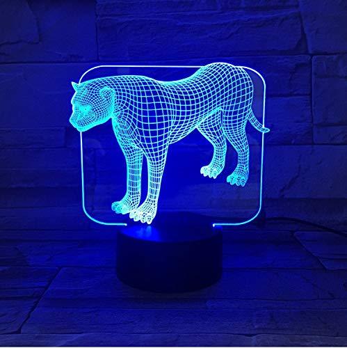 Lámpara De Ilusión Acrílico Transparente Led Luz De La Noche Soporte Leopard...