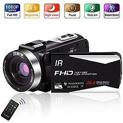 Camescope Caméscope Full HD 1080P 30FPS 24.0 MP Numérique Camescope Full HD IR Vision Nocturne 3.0 Pouces IPS Écran Camescope avec Telecommande Zoom 16X