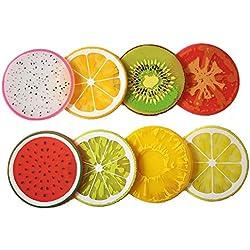 joyfeel comprar 8piezas redondo antideslizante anti-hot Cute Color frutas patrón para cojín de gel de sílice taza de bebidas posavasos Mat Protección para mesa, color al azar
