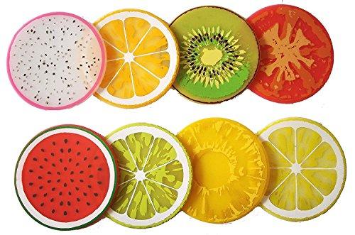 Da.Wa 8 Stück Obst Slice Silikon Coaster, Einzigartige Eye Catching, Besonders für Ihre Bar, Küche und Patio Entworfen,Random Color