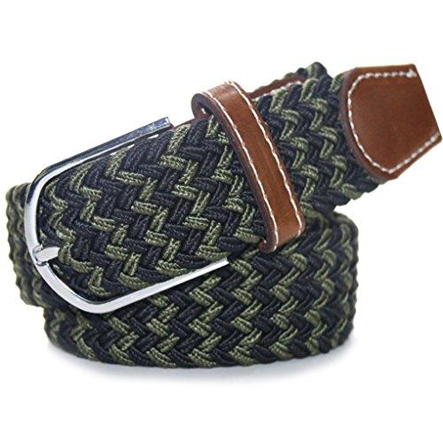 QHGstore 120cm Mix caoutchouc couleur Stretch Ceinture en alliage Ardillon tissé ceinture pour hommes / femmes B20 B22