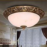 Europäischen stil kupfer deckenleuchte schlafzimmer runde lampe arbeitszimmer reinem kupfer nachahmung marmor led-leuchten , 6608-300