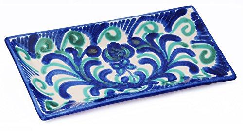Tapas-/Servierplatte (Granadino) Handgefertigt rechteckig Keramik Olive Green Teller