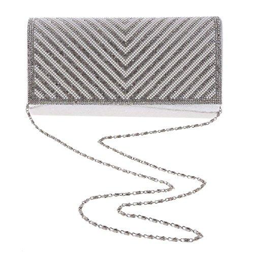 Damara® Damen Fashion Große Abendtasche Cluth Mit Glitzer Kristalle Silber