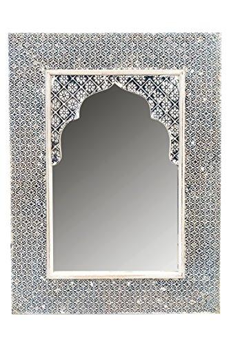 Orient Spiegel Wandspiegel Tasnim 60cm groß White Wash | Großer Marokkanischer Flurspiegel mit Holzrahmen orientalisch mit Metall verziert | Orientalischer Vintage Badspiegel ohne Beleuchtung als Orientalische Deko