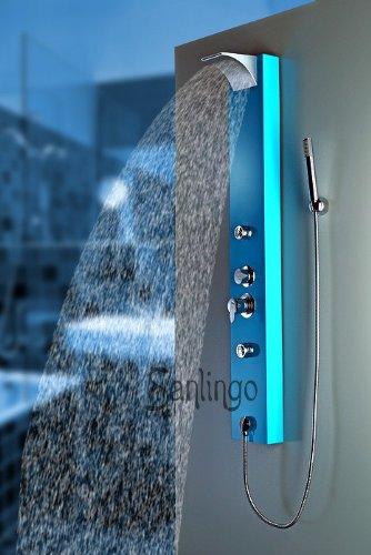 Blaues Sanlingo Alu Duschpaneel Duschsäule mit Wasserfall / Regendusche