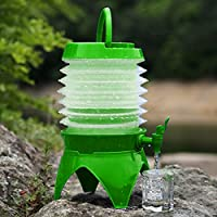 Multi-functional Outdoor Camping Telescopic Folding Retractable Beer Water Storage Bucket Drinking Water Outdoor Tools, Capacity: 5L(Orange) (Color : Green)