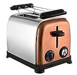 Team Kalorik 2-Scheiben-Toaster, Separater Brötchenaufsatz, Integrierte Krümelschublade, 800 W, Silber/Kupfer, TKG to 1050 CO, Metall, Kunststoff, Chrom