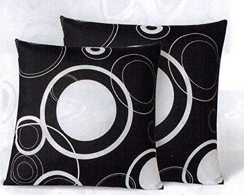 Kamaca - set di 2 copricuscini eleganti (= 2 pezzi), colore: bianco/nero, con splendidi personaggi geometrici