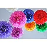 HQdeal 10 mezcló el papel de tejido grande del color Papelería de Pom Poms Decoración de la fiesta de cumpleaños de la boda de la Navidad Suministros 12 pulgadas