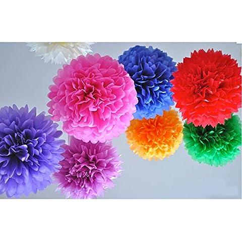 HQdeal 10grandes color mezclado papel de seda pompones mantequilla de Navidad boda fiesta de cumpleaños decoraciones suministros 5pulgadas, multicolor,
