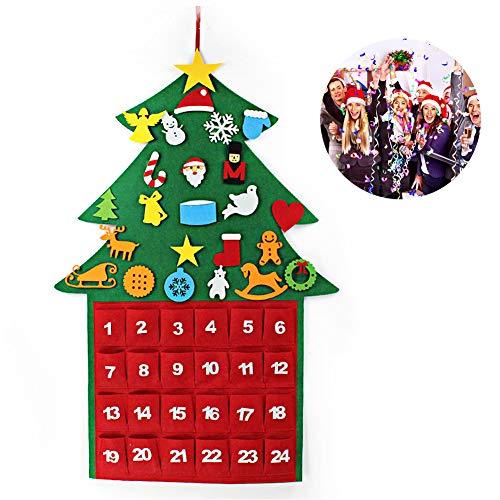 Calendario Dell'avvento di Natale, Calendario da Appendere per il Conto Alla Rovescia di 24 Giorni a Natale, con 21 Velcro, Ornamenti e Mini Tasca Portaoggetti, Consenti Decorazioni DIY, 67,5 * 100 CM
