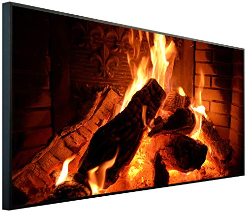 InfrarotPro Infrarotheizung 750 Watt Bildheizung | Made in Germany | Geprüfte Technik | Ultra-HD Auflösung, F01: Kamin, 120x60x3cm