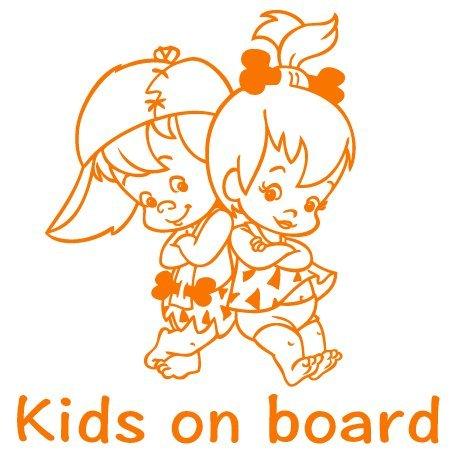 Autoaufkleber Baby Geschwister - Baby on Board Sticker Bambam & Pebbles - Babyaufkleber mit Namen/Wunschtext - (20cm x 20cm) - viele Farben - von stick-us