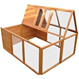 BUNNY BUSINESS Fully Folding Sheltered Rabbit Run Hutch, 48-inch
