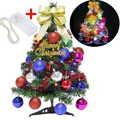 Funpa albero natale, 60cm albero di natale artificiale con 20pcs kit decorazioni albero di natale pinecone piccola santa apple ribbon stella ornamenti 30led string light