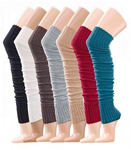 Krautwear® Damen Mädchen Beinwärmer Stulpen Legwarmers Overknees gestrickte Strümpfe ca. 70cm Öko-Tex Standard 100 80er Jahre 1980er Jahre schwarz beige rot weiss grau braun (schwarz)