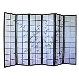 Paravent japonais en bois noir avec dessin bambou de 6 pans -PEGANE-