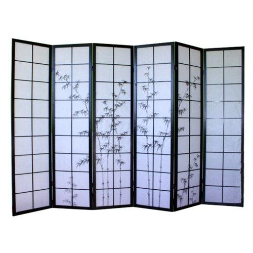 PEGANE Biombo japonés de madera color negro con dibujo bambú de 6 paneles