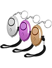 LUTER Alarme Personnelle d'urgence avec Torche LED 140 DB Alarme Poche Panique Anti-agression d'auto-défense pour Femme Enfant(3 Pcs)