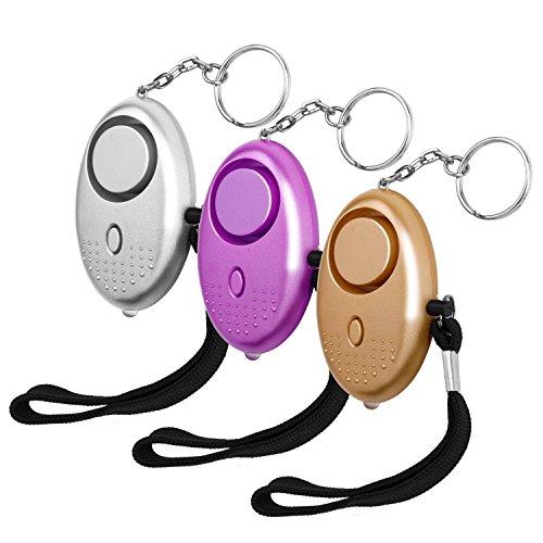 Luter 3 Stück Persönliche Alarm 140 Db Taschenalarm mit LED Lampe Panikalarm Selbstverteidigung Sirene Schlüsselanhänger Alarm für Kinder und Frauen 4