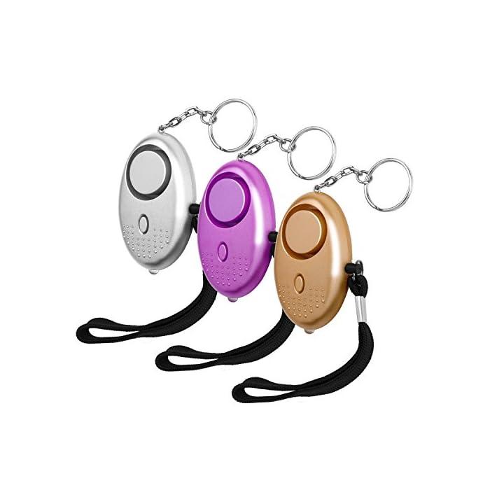 Luter 3 Stück Persönliche Alarm 140 Db Taschenalarm mit LED Lampe Panikalarm Selbstverteidigung Sirene Schlüsselanhänger Alarm für Kinder und Frauen 1
