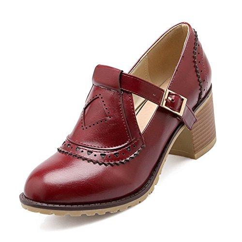AgooLar Femme à Talon Correct Matière Souple Boucle Rond Chaussures Légeres Rouge Vineux