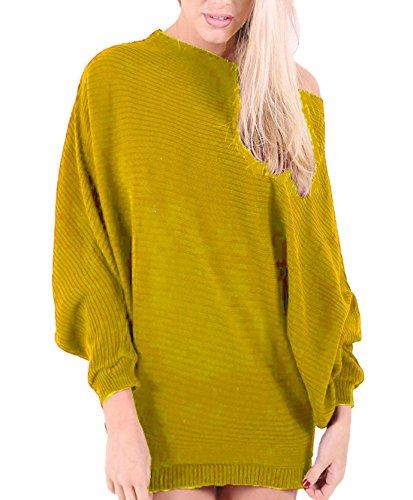 Islander Fashions Femmes dames � manches longues plaine hors �paule tricot� chauve-souris haut (S-M-L) Mustard