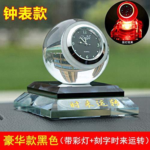 CQMYG Auto Parfüm Sitz kreative Uhr Kristall Parfüm Dekoration Autodekorationen Leuchtend [Luxus] cool schwarz + Lichter + Zeit zu Laufen (Kristall Quarz Vogel)