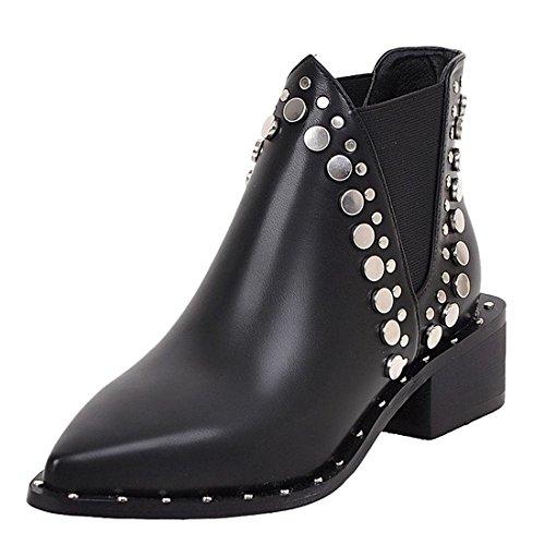 UH Damen Chunky Chelsea Stiefeletten Spitze Ankle Boots mit Nieten und Fell Bequeme Rock Schuhe