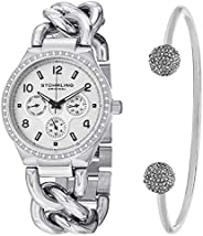 Stuhrling Original Women's Silver Dial Stainless Steel Band Watch & Bracelet Set - Set_813S.01_B2S, An